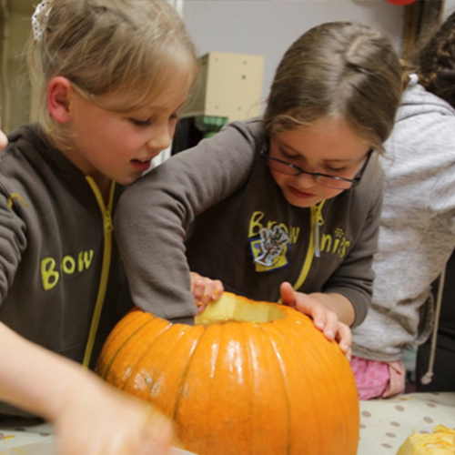 Hanford School-Brownies Pumpkin Carving 2017 6