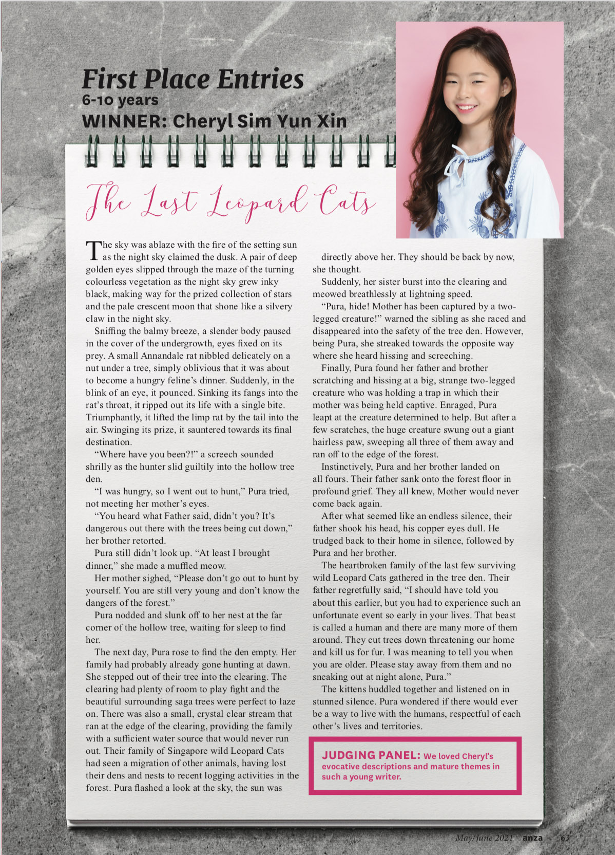 Hanford School-Congratulations to Cheryl for her ANZA Magazine Writing Prize